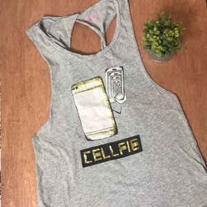 """Rebellious One """"Cellfie"""" Graphic Cut Out Tank Tee"""
